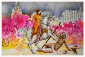 HELIODORE chassé de la ville, dessin de Jean Pierre Rémaut