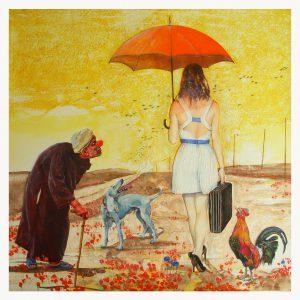 La Dame au Parapluie, dessin de Jean Pierre Rémaut