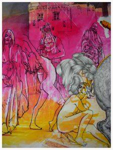 Héliodore détail 3, dessin de Jean Pierre Rémaut
